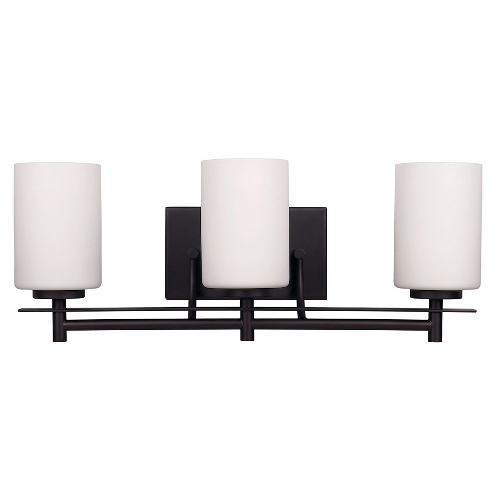 Canarm Carlton 3 Light Vanity Light In Oil Rubbed Bronze With White Opal Glass The Home Depot Canada