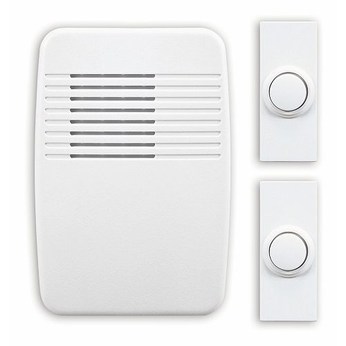 Wireless Plug-In Door Chime Kit with 2 Push Buttons