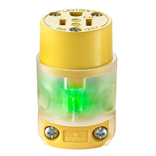 Leviton 15 Amp, 125 Volt, NEMA 5-15R, 2-Pole, 3-Wire Connector, Straight Blade - Clear with LED
