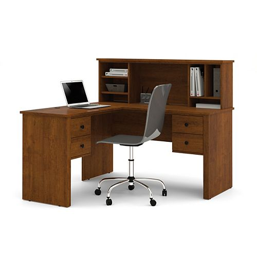 Somerville 53.5-inch x 46.9-inch x 57.5-inch L-Shaped Computer Desk in Brown