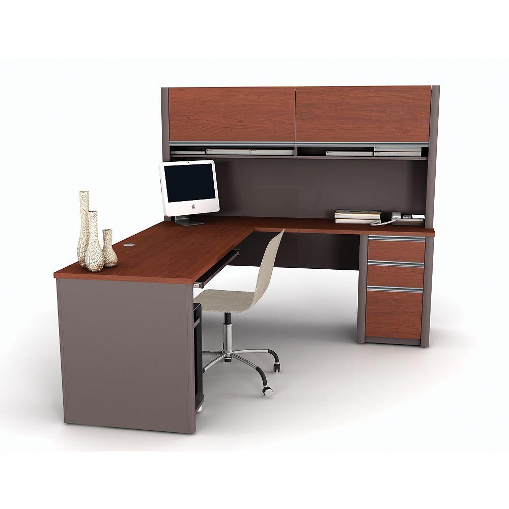 Bestar Bureau d'ordinateur enL Connation, 71,1po x 65,9po x 82,9po, rouge