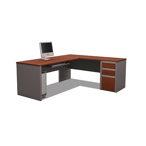 Connation 71.1-inch x 30.4-inch x 82.9-inch L-Shaped Computer Desk in Red