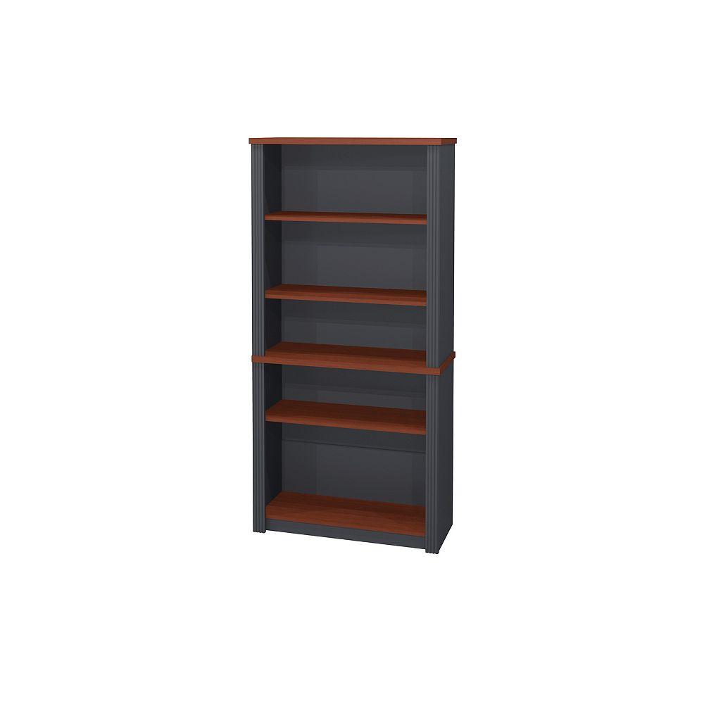 Bestar 30.8-inch x 66.8-inch x 12.9-inch 5-Shelf Manufactured Wood Bookcase in Grey