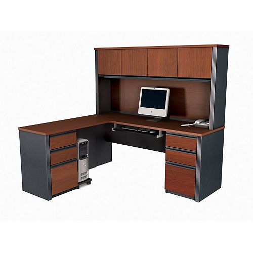 Prestige + 71.1-inch x 66.8-inch x 62.8-inch L-Shaped Computer Desk in Red