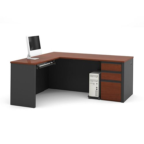 Prestige + 71.1-inch x 30.4-inch x 69.2-inch L-Shaped Computer Desk in Red