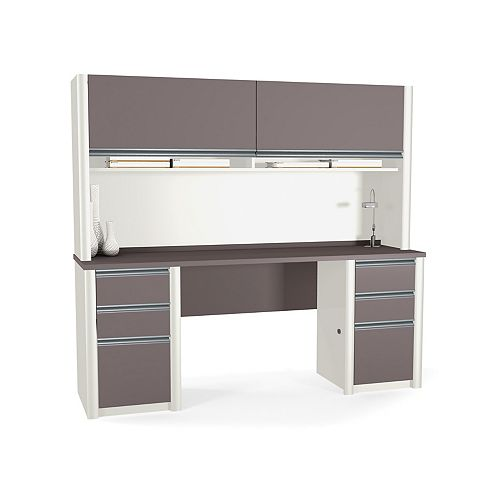 Bestar Connation 71.1-inch x 65.9-inch x 23.4-inch Standard Computer Desk in Grey