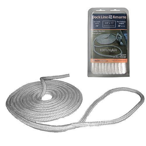 Pre-Spliced Double Braided Dock Line 3/8Inch x 15Feet