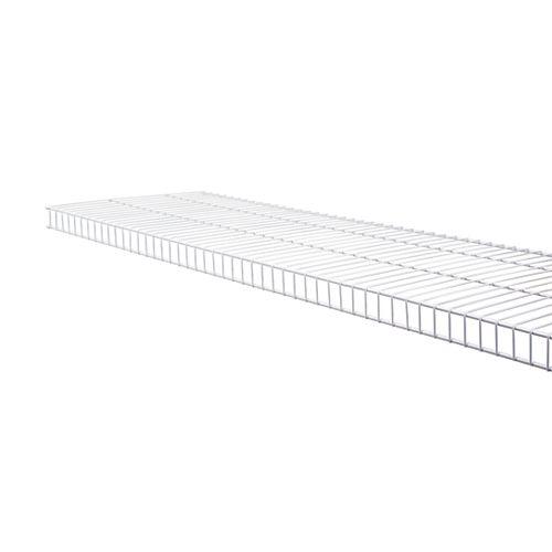 Tablette à linge en grillage métallique, 12 po x 12 pi, blanche