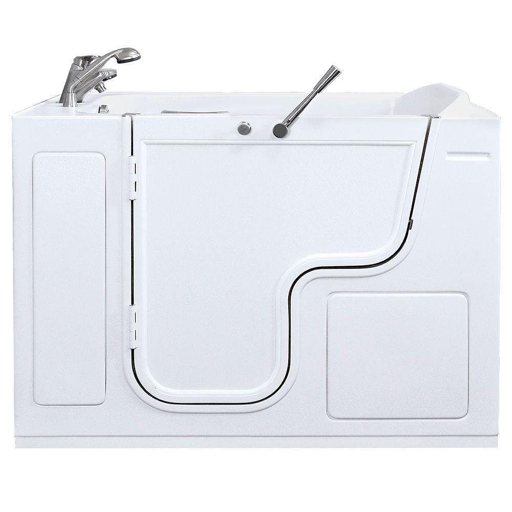 Ella Titan (35 po x 53 po) double massage promenade dans la baignoire en blanc avec Outward Porte battante et la fuite du côté gauche