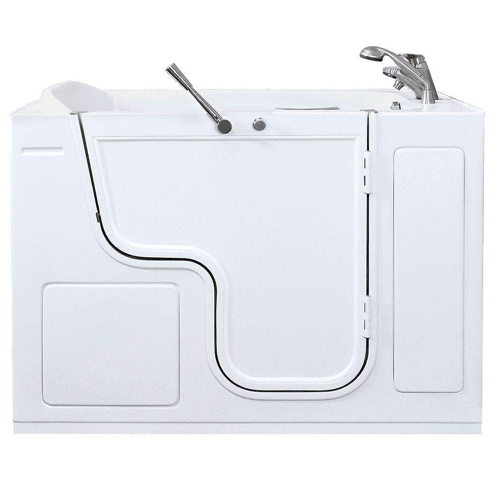 Ella Titan (35 po x 53 po) double massage promenade dans la baignoire en blanc avec Outward Porte battante et la fuite du côté droit