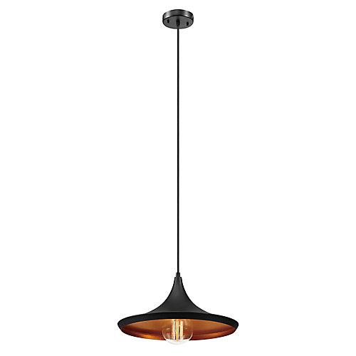 Pendentif aplati, style industriel moderne à 1 ampoule, fini en bronze et or huilé