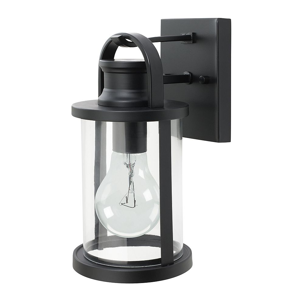 Globe Electric 12 Inch Sleek Outdoor Wall Lantern With Clear Glass Shade In Black The Home Depot Canada