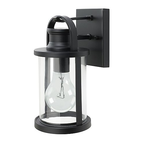 12-inch Sleek Outdoor Wall Lantern with Clear Glass Shade in Black