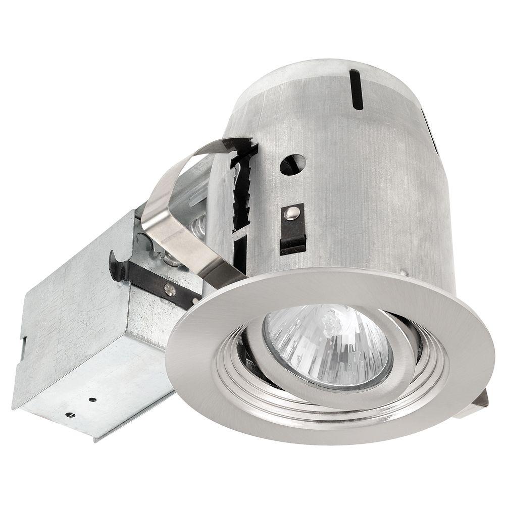 Globe Electric 90017 Ensemble d'eclairage encastre 4 pouces, finition en nickel brosse avec deflecteur rainuree