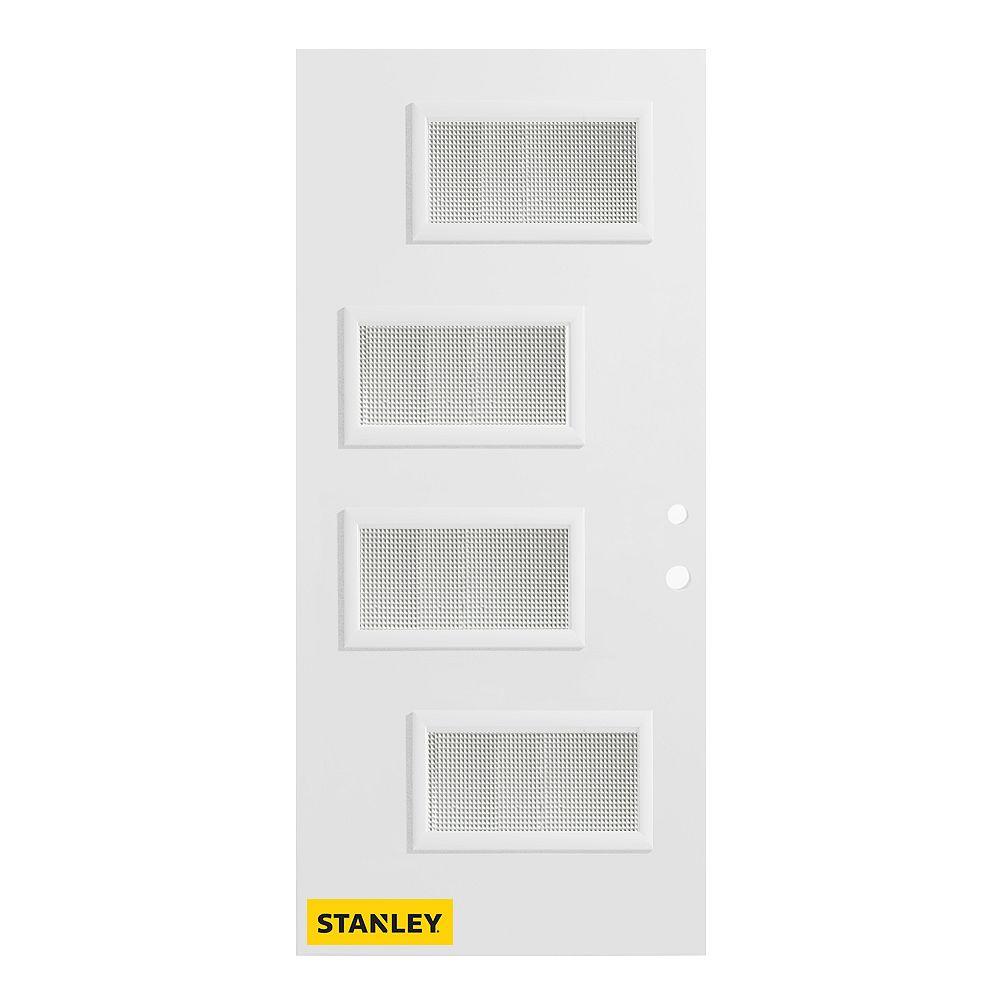 STANLEY Doors 37.375 inch x 82.375 inch Beatrice 4-Lite Gingoshi Prefinished White Left-Hand Inswing Steel Prehung Front Door - ENERGY STAR®