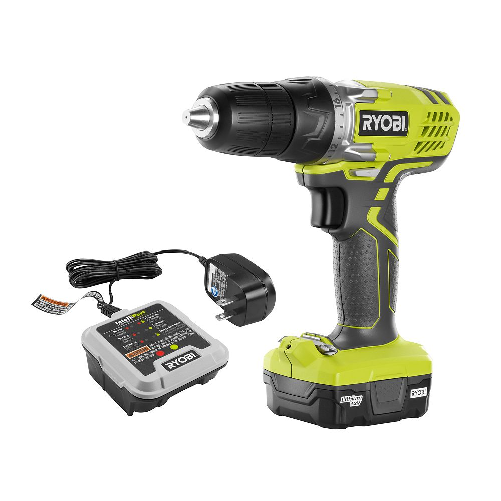 Ryobi 12v Lithium Ion Cordless 3 8 Inch Drill Driver Kit With 12v Battery And Charger The Home Depot Canada