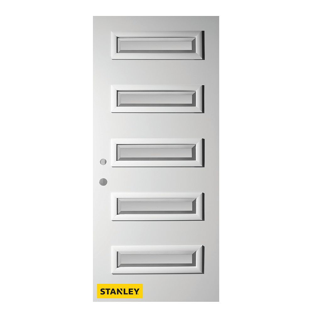STANLEY Doors 33.375 inch x 82.375 inch Ruth 5-Lite Satin Bevel Prefinished White Right-Hand Inswing Steel Prehung Front Door - ENERGY STAR®