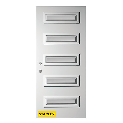 37.375 inch x 82.375 inch Ruth 5-Lite Satin Bevel Prefinished White Right-Hand Inswing Steel Prehung Front Door - ENERGY STAR®