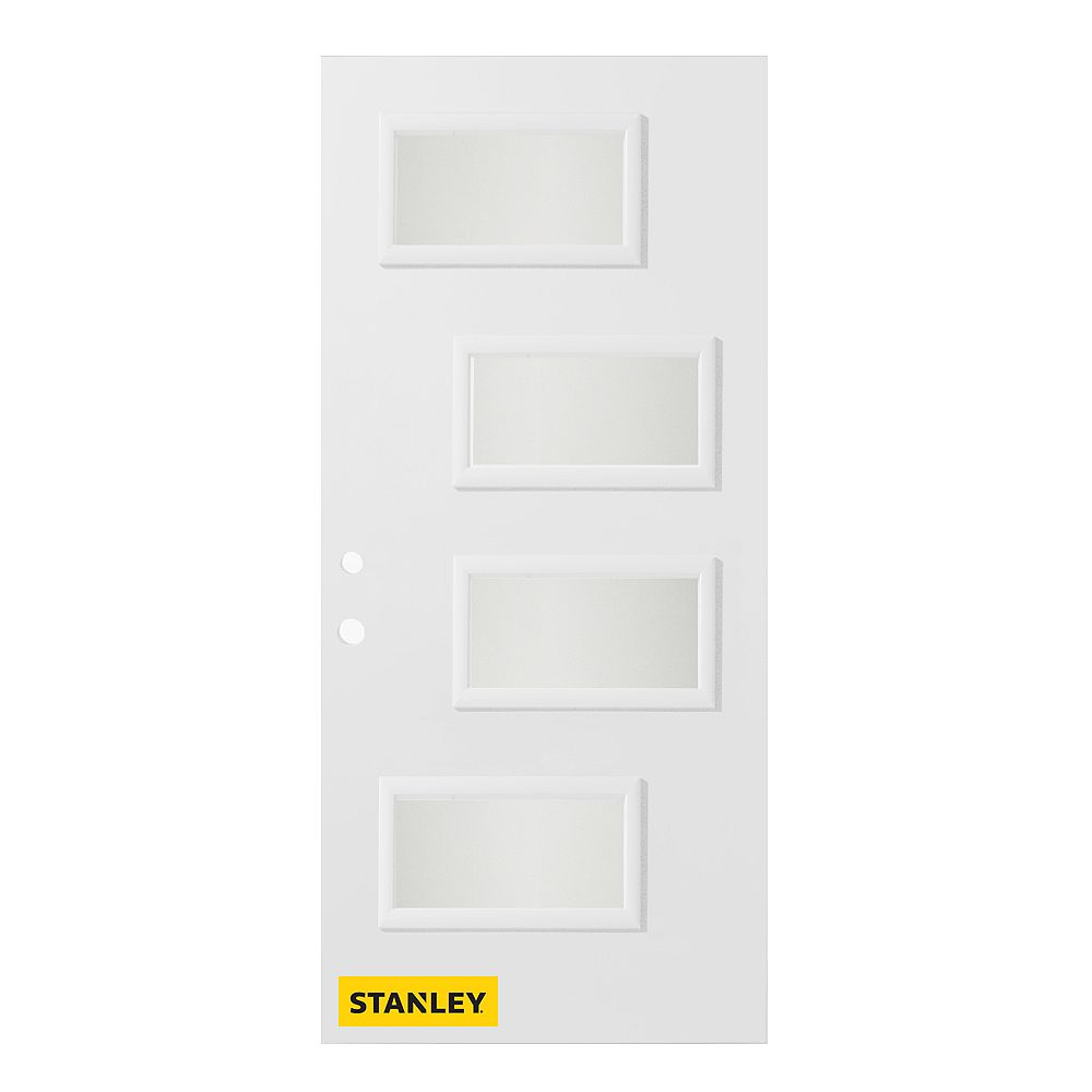 STANLEY Doors 33.375 inch x 82.375 inch Beatrice 4-Lite Satin Opaque Prefinished White Right-Hand Inswing Steel Prehung Front Door - ENERGY STAR®