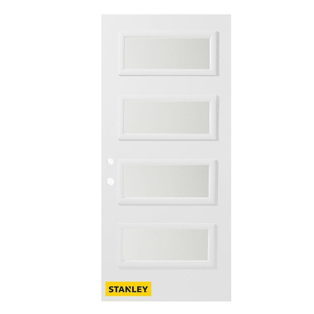STANLEY Doors Porte d'entré en acier préfini en blanc, munie de 4 panneaux de verres, 34 po x 80 po, ouverture vers l'intérieur à droite - ENERGY STAR®