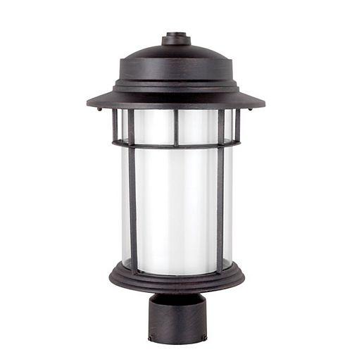 40961-A Eclairage exterieur sur poteau, finition en noir avec abat-jour en verre opale