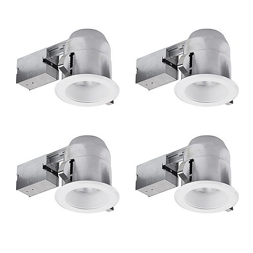 Globe Electric 5-inch White IC Rated Round Recessed Lighting Kit (4-Pack)
