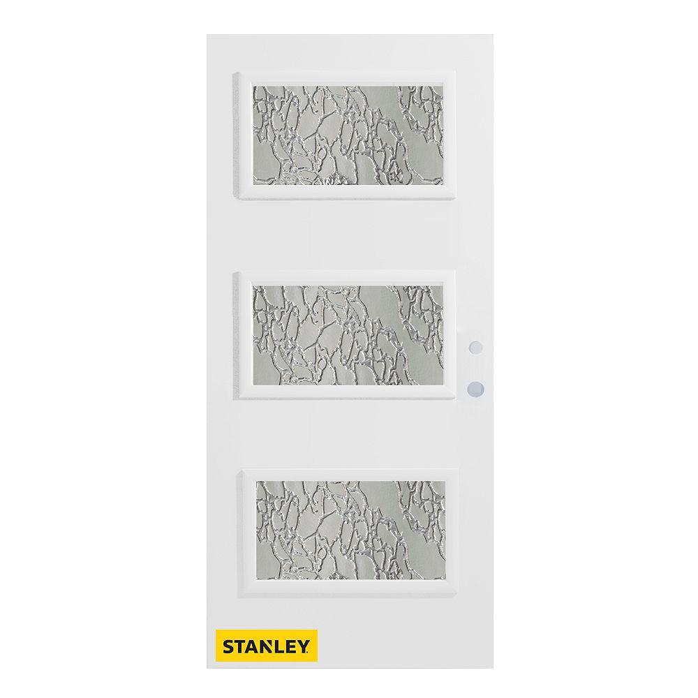 STANLEY Doors 35.375 inch x 82.375 inch Dorothy 3-Lite Diamond Prefinished White Left-Hand Inswing Steel Prehung Front Door