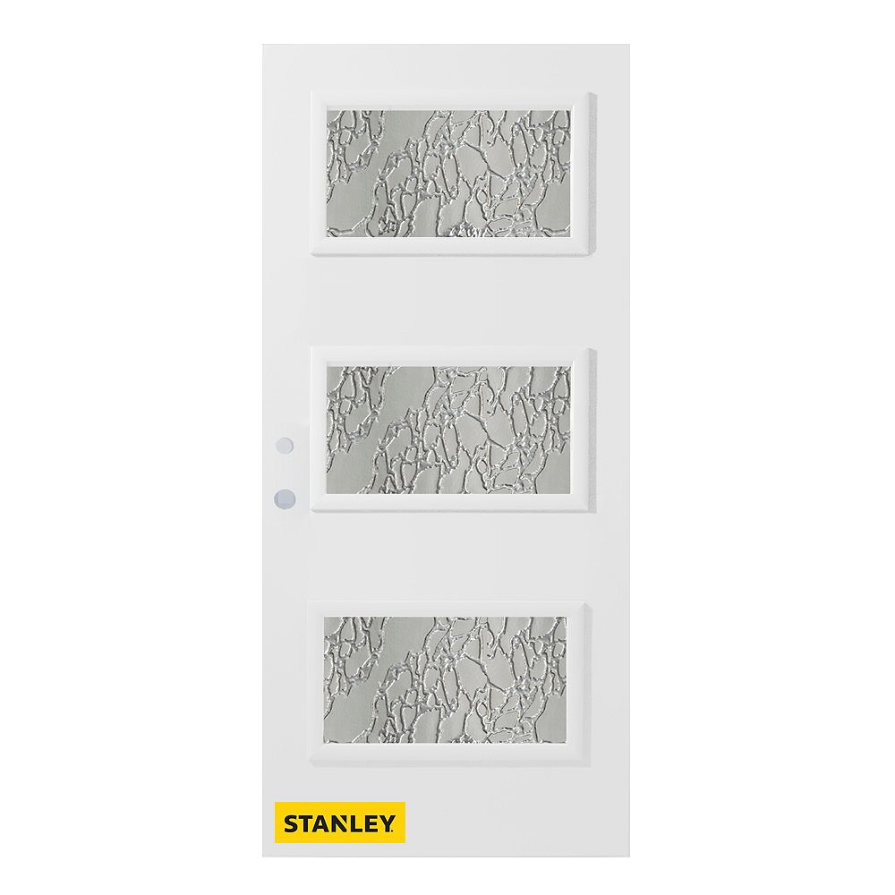STANLEY Doors 37.375 inch x 82.375 inch Dorothy 3-Lite Diamond Prefinished White Right-Hand Inswing Steel Prehung Front Door - ENERGY STAR®