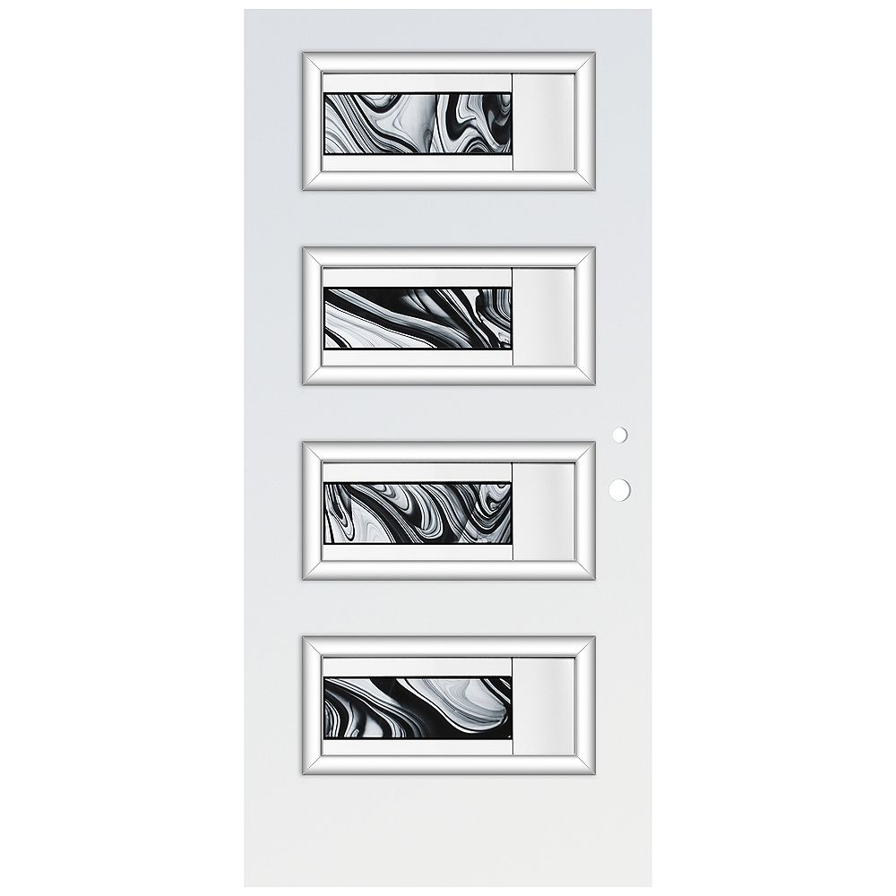 STANLEY Doors 35.375 inch x 82.375 inch Rosemary 4-Lite Decorative Prefinished White Right-Hand Inswing Steel Prehung Front Door - ENERGY STAR®