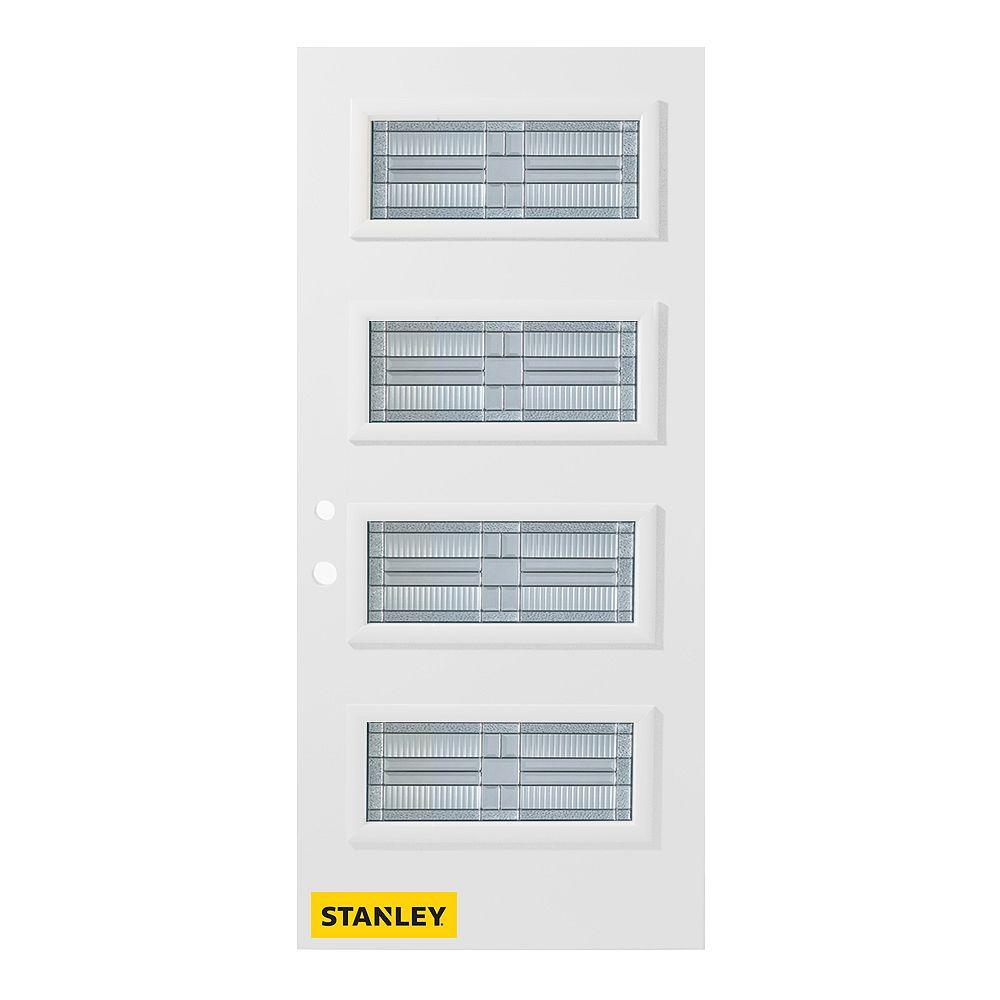 STANLEY Doors 35.375 inch x 82.375 inch Seattle Zinc 4-Lite Flutelite Prefinished White Right-Hand Inswing Steel Prehung Front Door