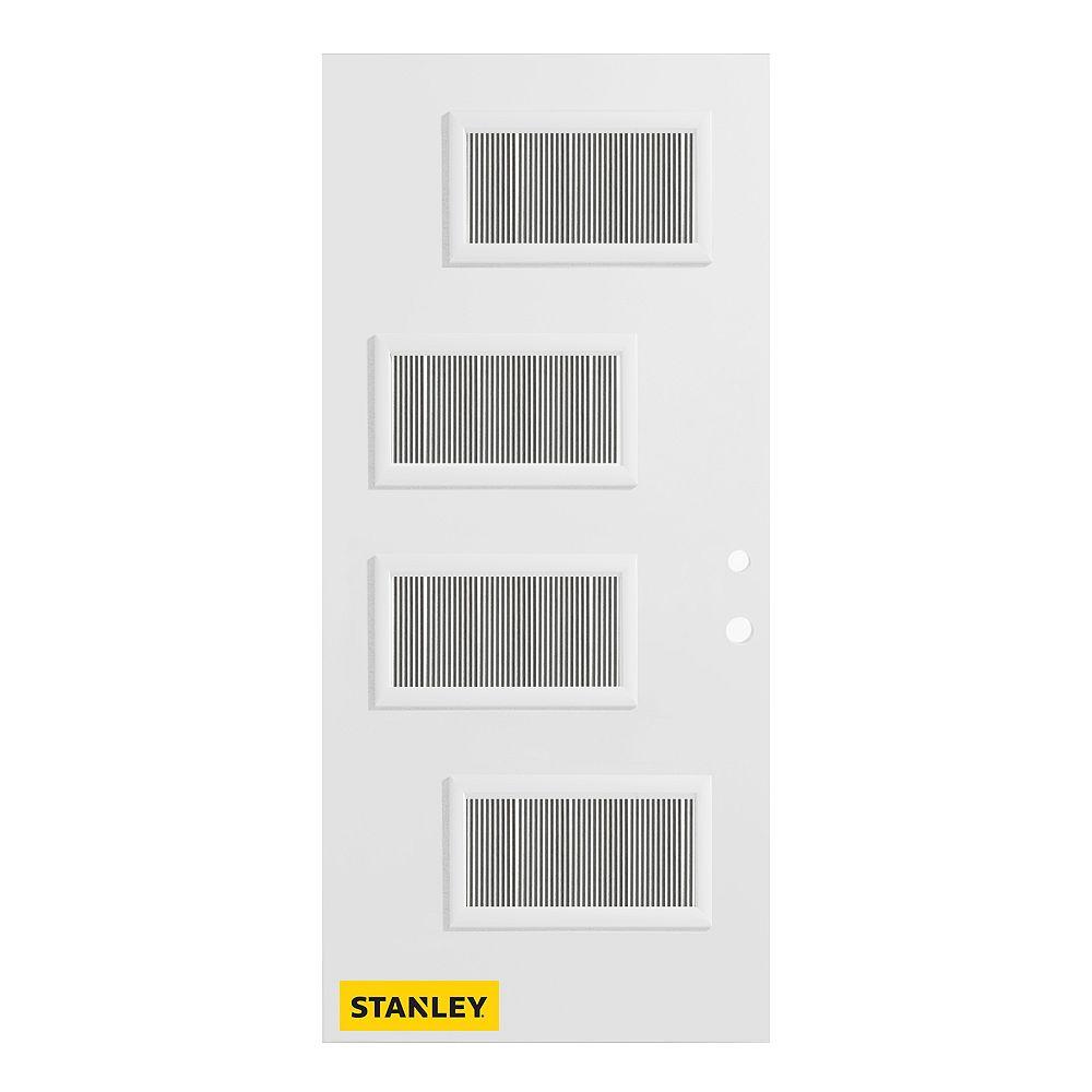 STANLEY Doors 35.375 inch x 82.375 inch Beatrice 4-Lite Flutelite Prefinished White Left-Hand Inswing Steel Prehung Front Door - ENERGY STAR®