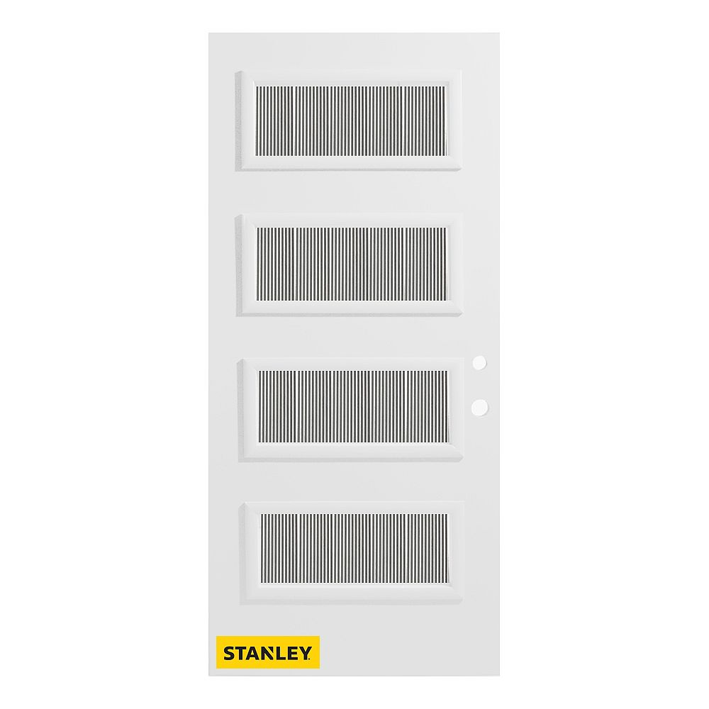 STANLEY Doors 33.375 inch x 82.375 inch Lorraine 4-Lite Masterline Prefinished White Left-Hand Inswing Steel Prehung Front Door - ENERGY STAR®