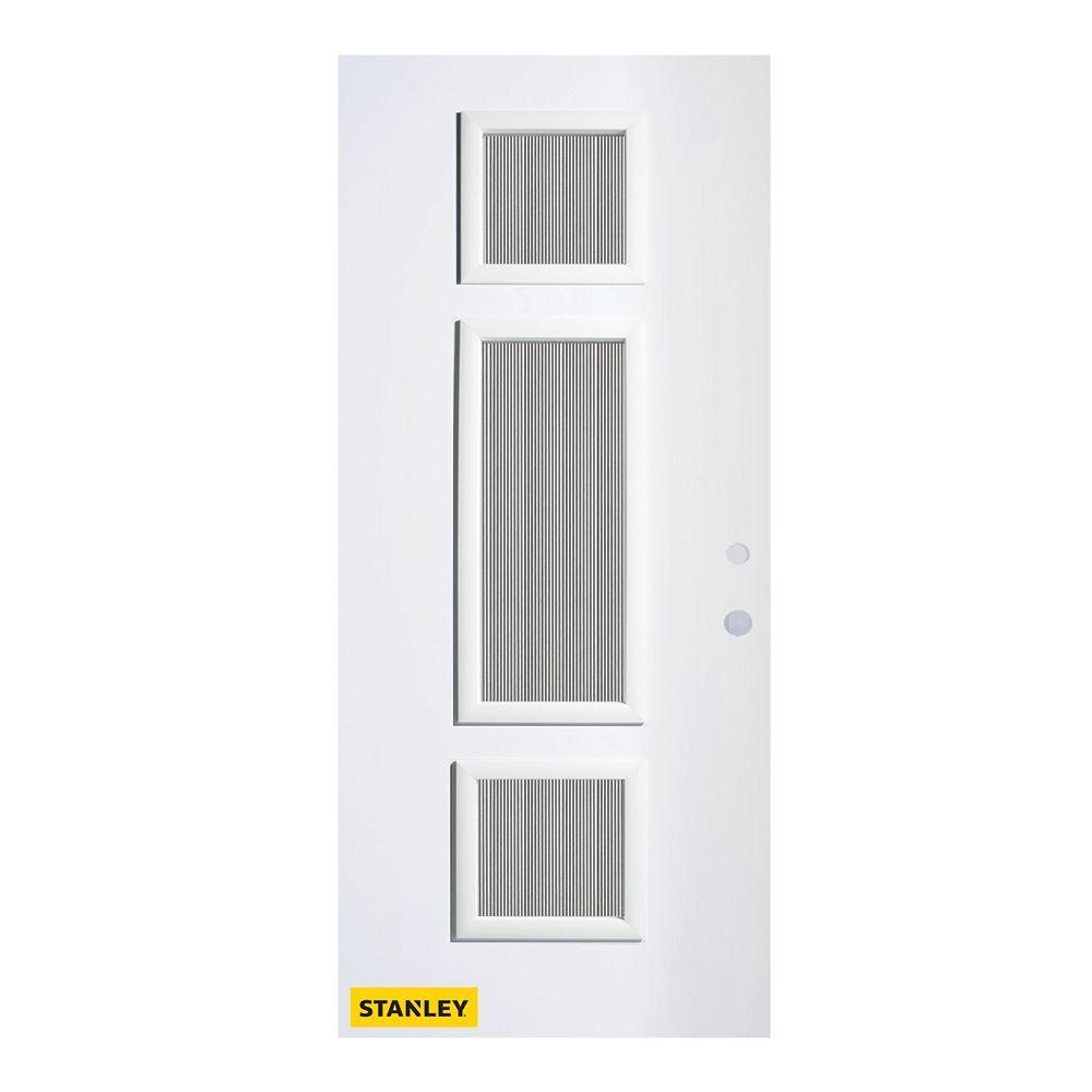 STANLEY Doors 35.375 inch x 82.375 inch Marjorie 3-Lite Carr Prefinished White Left-Hand Inswing Steel Prehung Front Door - ENERGY STAR®