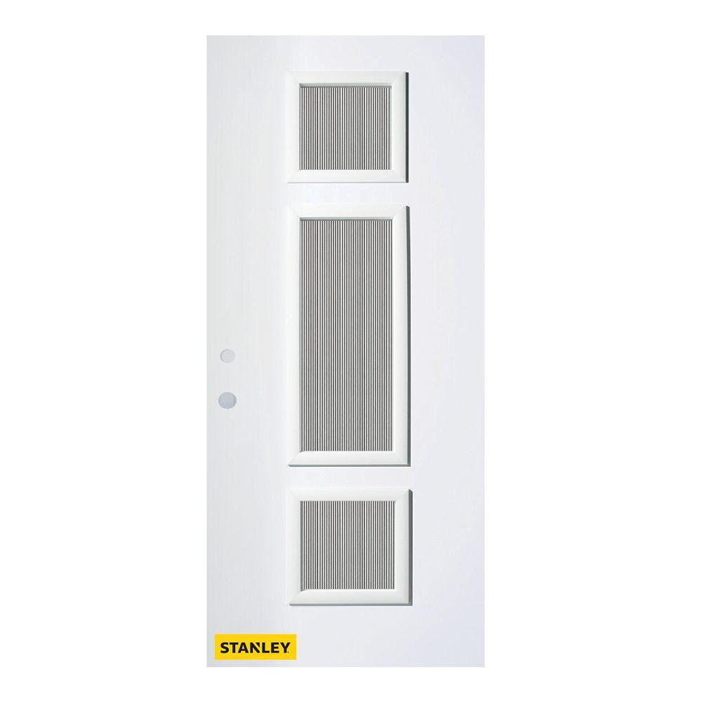 STANLEY Doors 35.375 inch x 82.375 inch Marjorie 3-Lite Carr Prefinished White Right-Hand Inswing Steel Prehung Front Door - ENERGY STAR®
