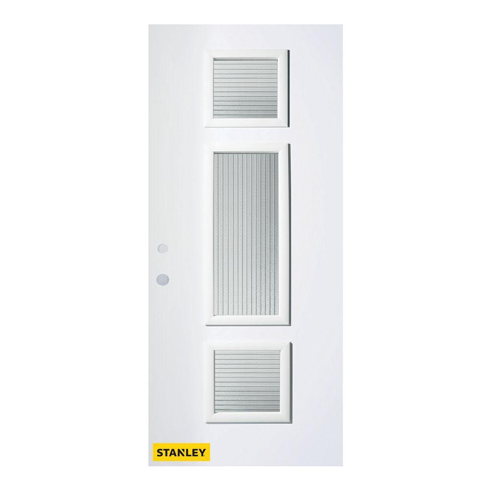 STANLEY Doors 37.375 inch x 82.375 inch Marjorie 3-Lite Masterline Prefinished White Right-Hand Inswing Steel Prehung Front Door - ENERGY STAR®
