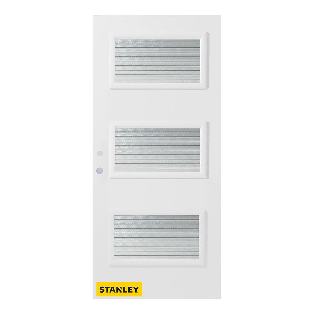 STANLEY Doors 35.375 inch x 82.375 inch Dorothy 3-Lite Carr Prefinished White Right-Hand Inswing Steel Prehung Front Door - ENERGY STAR®