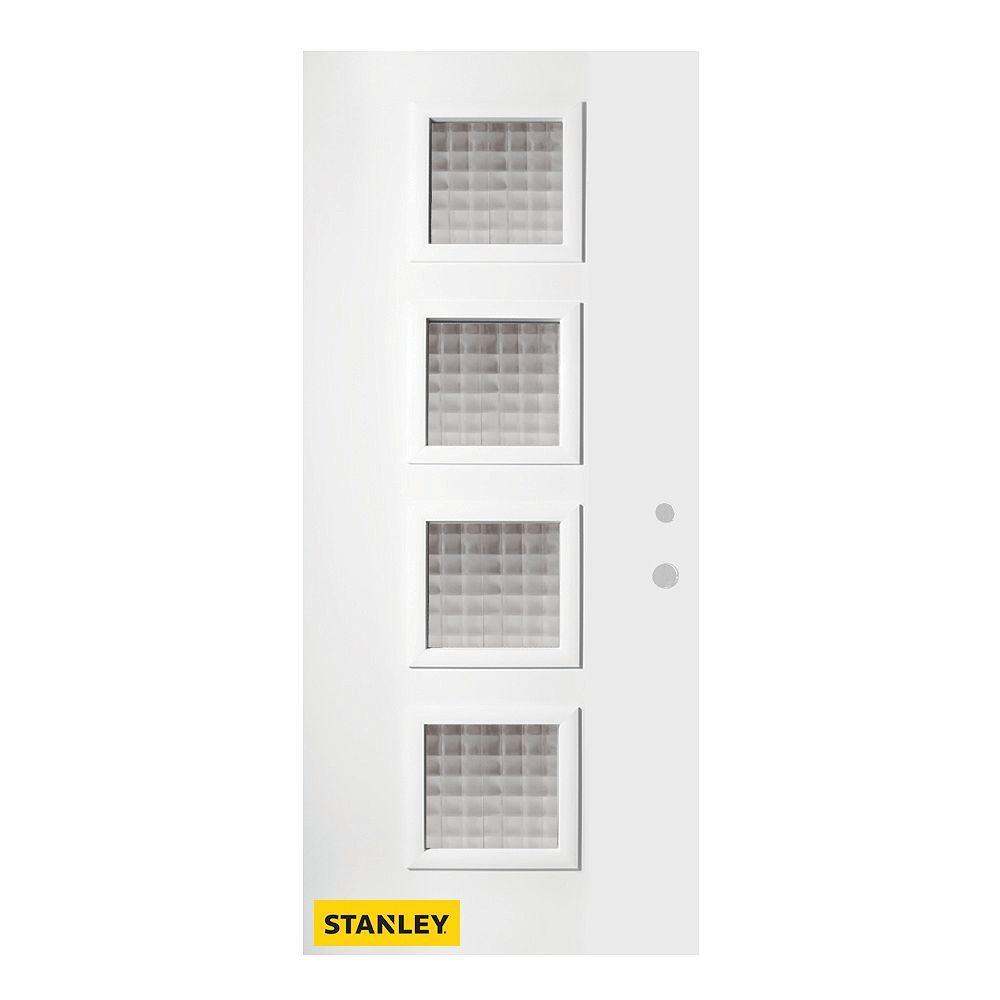 STANLEY Doors 37.375 inch x 82.375 inch Evelyn 4-Lite Screen Prefinished White Left-Hand Inswing Steel Prehung Front Door - ENERGY STAR®