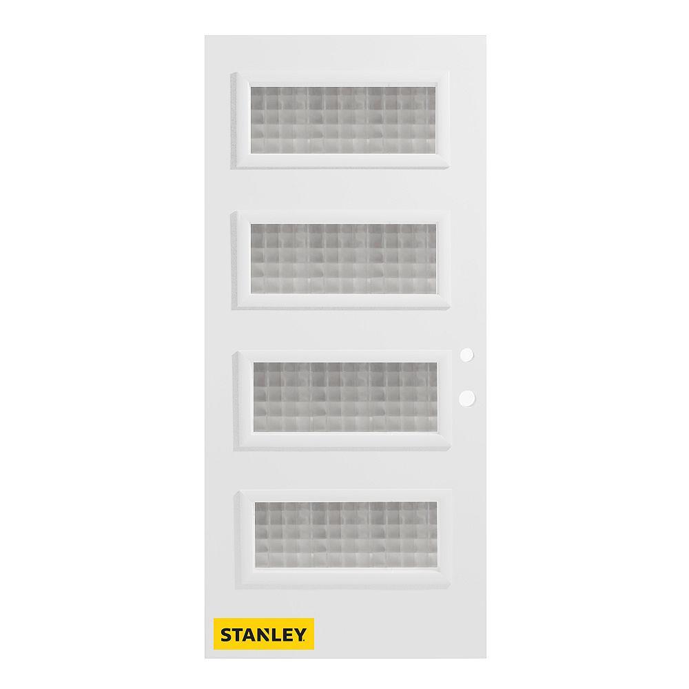 STANLEY Doors 33.375 inch x 82.375 inch Lorraine 4-Lite Carr Prefinished White Left-Hand Inswing Steel Prehung Front Door - ENERGY STAR®