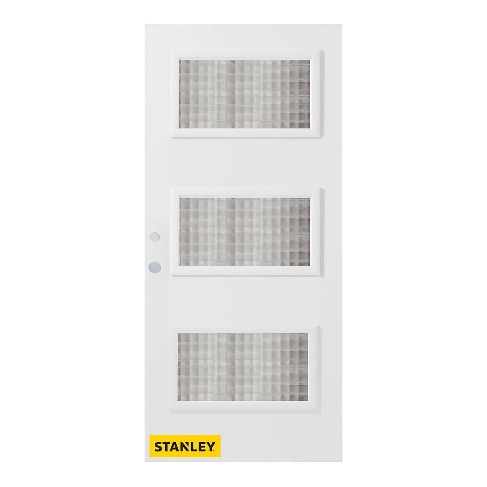 STANLEY Doors 33.375 inch x 82.375 inch Dorothy 3-Lite Gingoshi Prefinished White Right-Hand Inswing Steel Prehung Front Door - ENERGY STAR®
