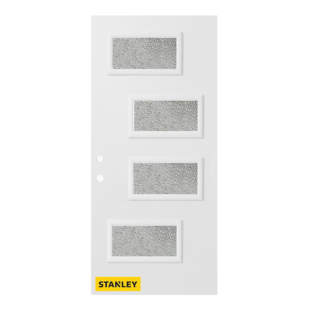 STANLEY Doors 33.375 inch x 82.375 inch Beatrice 4-Lite Diamond Prefinished White Right-Hand Inswing Steel Prehung Front Door - ENERGY STAR®