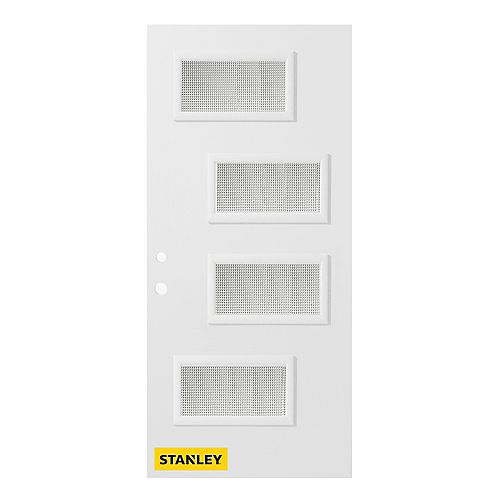 33.375 inch x 82.375 inch Beatrice 4-Lite Screen Prefinished White Right-Hand Inswing Steel Prehung Front Door - ENERGY STAR®