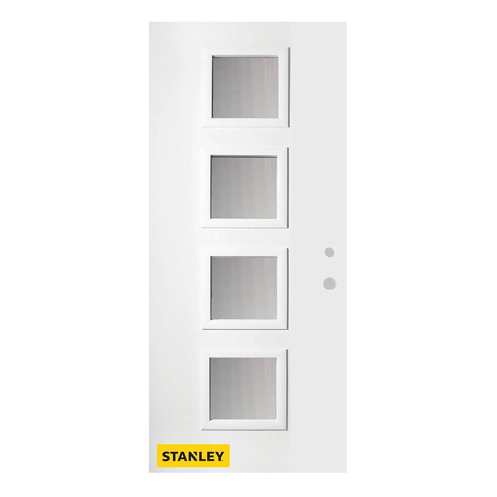STANLEY Doors 33.375 inch x 82.375 inch Evelyn 4-Lite Screen Prefinished White Left-Hand Inswing Steel Prehung Front Door - ENERGY STAR®