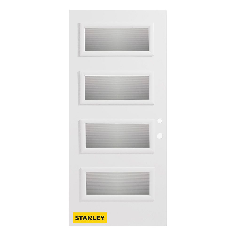 STANLEY Doors Porte d'entré en acier préfini en blanc, munie de 4 panneaux de verres, 36 po x 80 po, ouverture vers l'intérieur à gauche