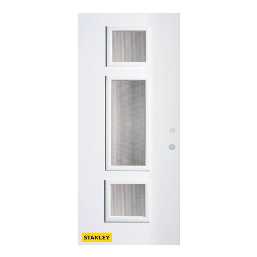 STANLEY Doors 35.375 inch x 82.375 inch Marjorie 3-Lite Delta Satin Prefinished White Left-Hand Inswing Steel Prehung Front Door - ENERGY STAR®