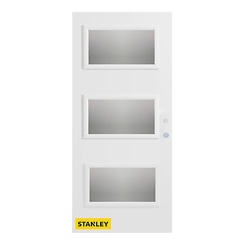 35.375 inch x 82.375 inch Dorothy 3-Lite Delta Satin Prefinished White Left-Hand Inswing Steel Prehung Front Door - ENERGY STAR®