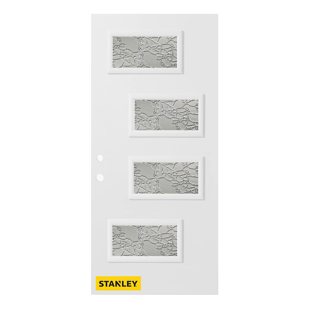 STANLEY Doors 35.375 inch x 82.375 inch Beatrice 4-Lite Gingoshi Prefinished White Right-Hand Inswing Steel Prehung Front Door - ENERGY STAR®