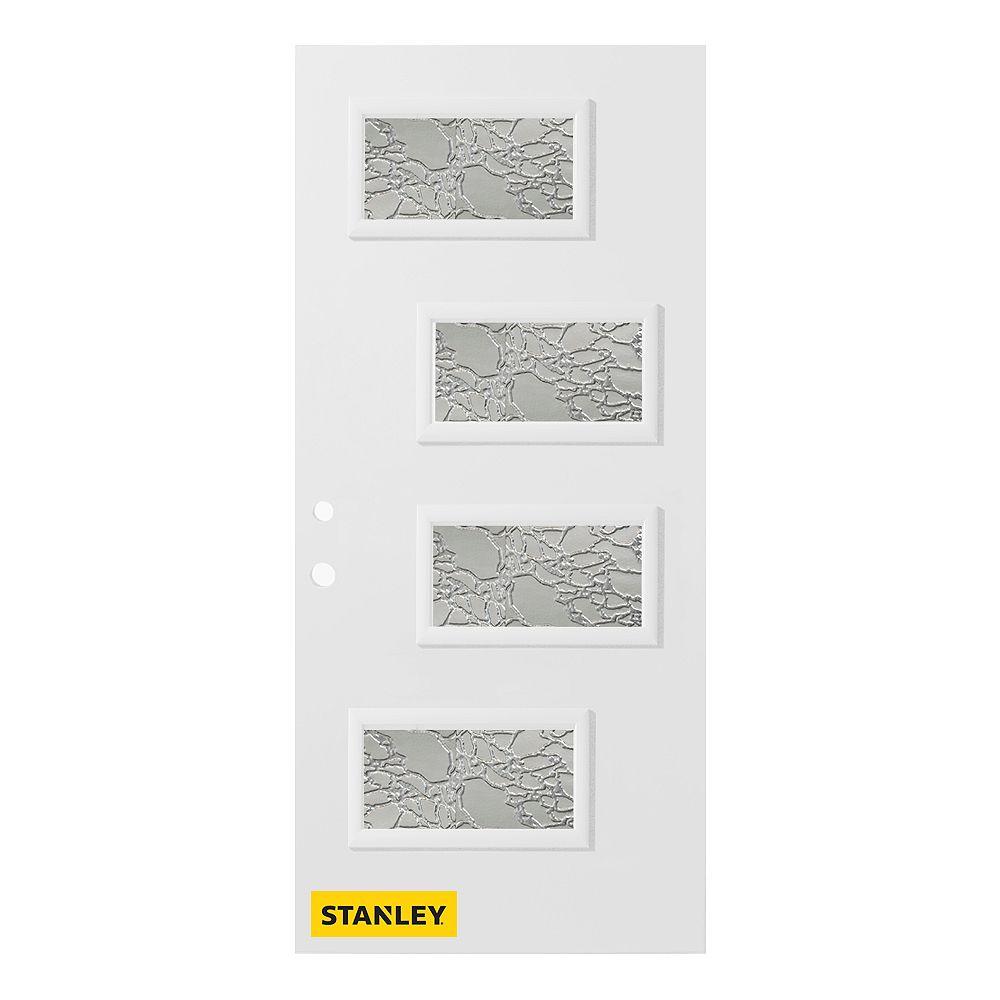 STANLEY Doors Porte d'entré en acier préfini en blanc, munie de 4 panneaux de verres, 36 po x 80 po, ouverture vers l'intérieur à droite - ENERGY STAR®