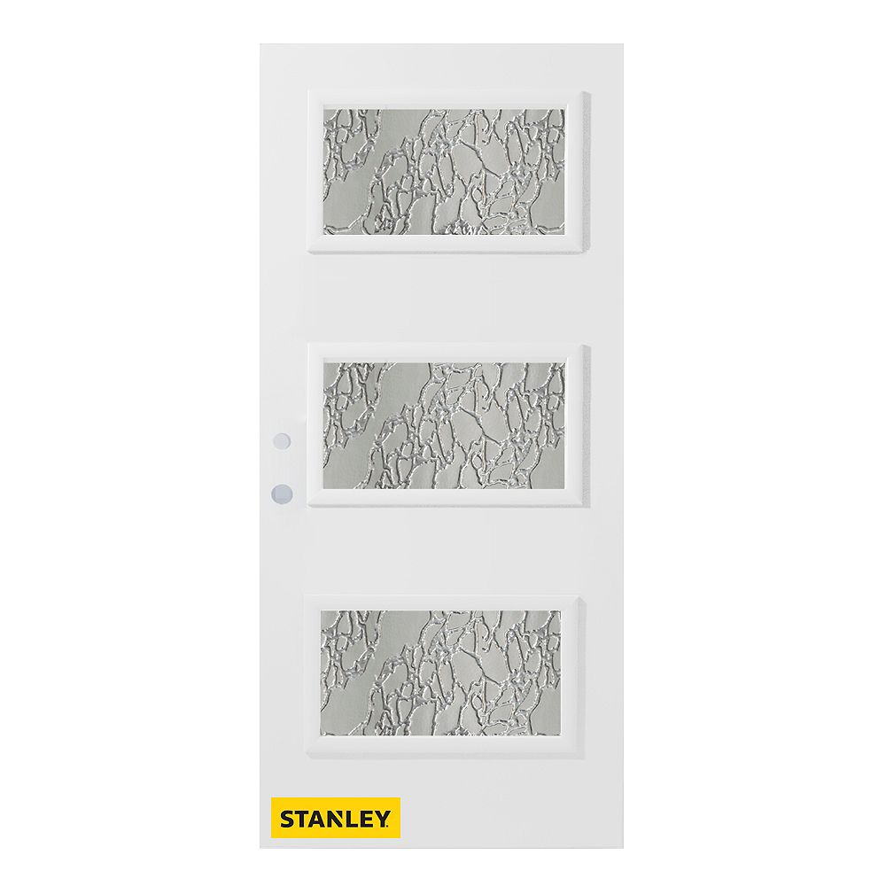 STANLEY Doors 33.375 inch x 82.375 inch Dorothy 3-Lite Satin Opaque Prefinished White Right-Hand Inswing Steel Prehung Front Door - ENERGY STAR®
