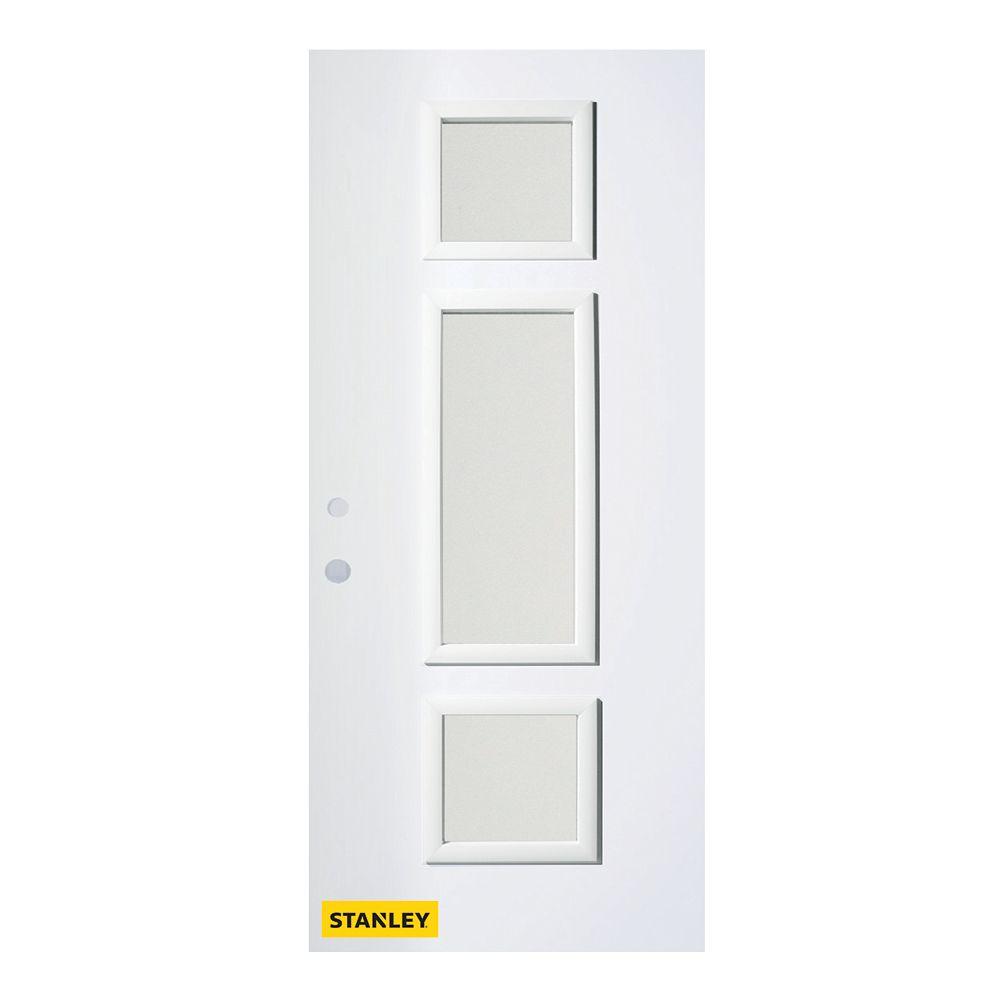 STANLEY Doors 35.375 inch x 82.375 inch Marjorie 3-Lite Louise Prefinished White Right-Hand Inswing Steel Prehung Front Door