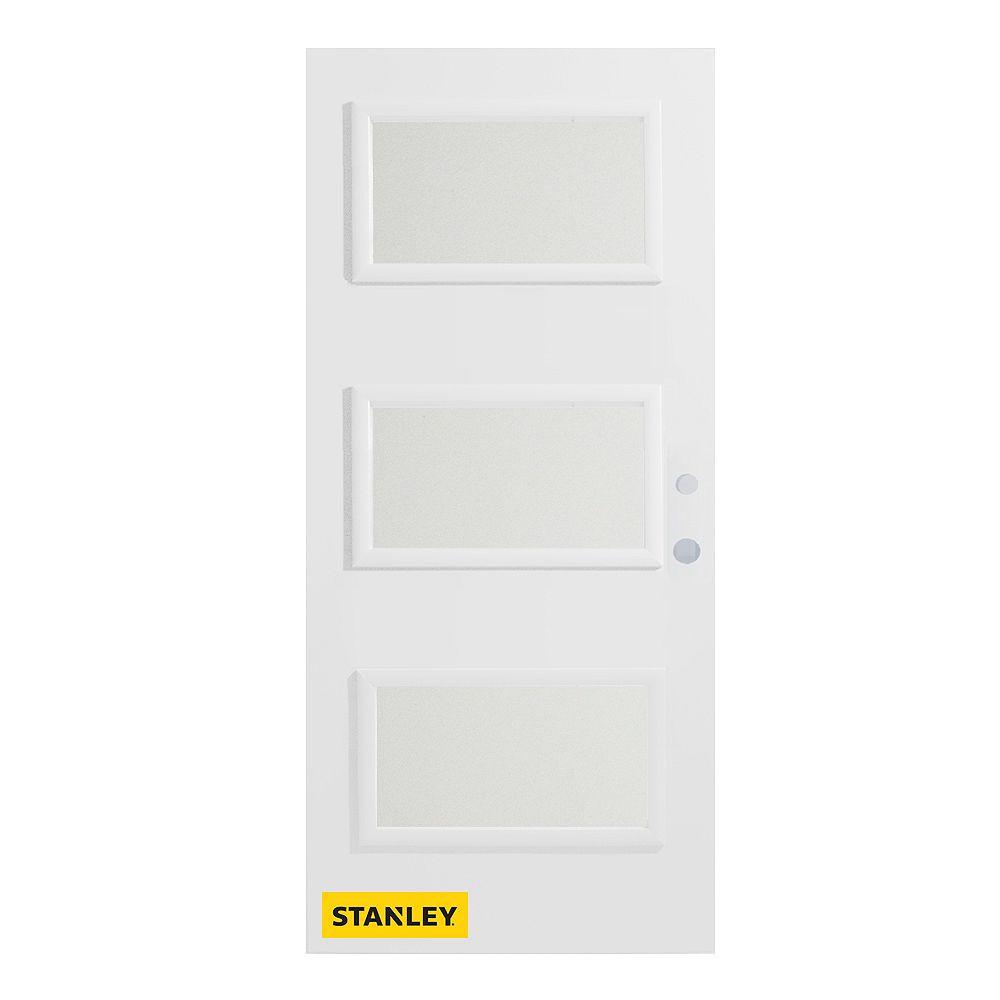 STANLEY Doors Porte d'entré en acier préfini en blanc, munie de 3 panneaux de verres, 32 po x 80 po, ouverture vers l'intérieur à gauche - ENERGY STAR®